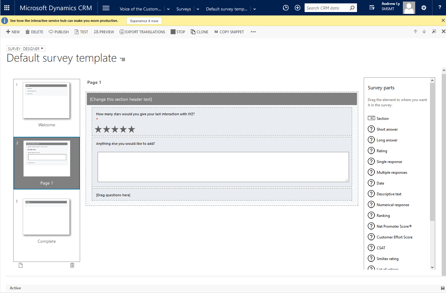 Creating New Voice Of The Customer Surveys In Crm 2016 365lyf