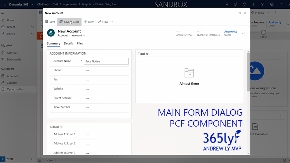 PCF Main Form Dialog